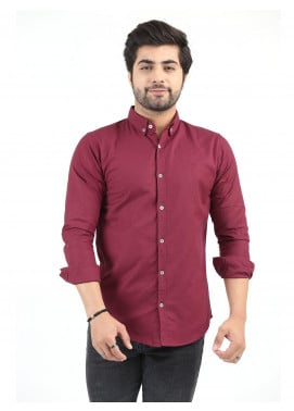 Shahzeb Saeed Cotton Casual Men Shirts - MAROON CSW-198