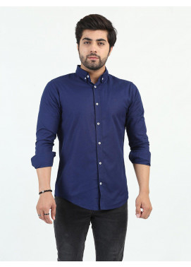 Shahzeb Saeed Cotton Casual Shirts for Men - DARK BLUE CSW-199