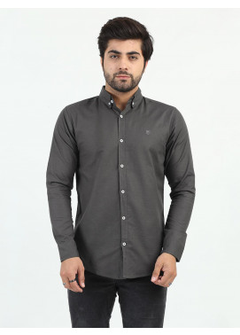Shahzeb Saeed Cotton Casual Men Shirts - DARK GREY CSW-200