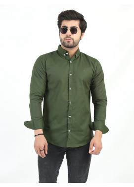 Shahzeb Saeed Cotton Casual Shirts for Men - OLIVE GREEN CSW-201