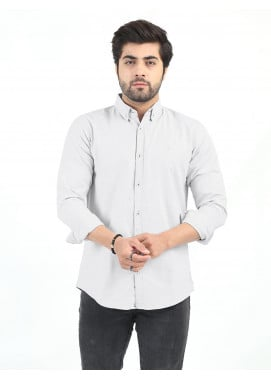 Shahzeb Saeed Cotton Casual Men Shirts - LIGHT GREY CSW-204