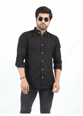 Shahzeb Saeed Cotton Casual Shirts for Men - BLACK CSW-209