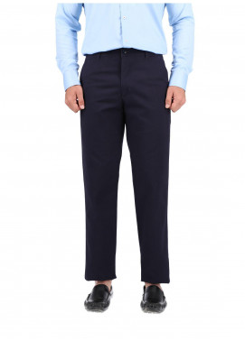 Shahzeb Saeed Cotton Dress Trousers for Men - NAVY BLUE CTR-82