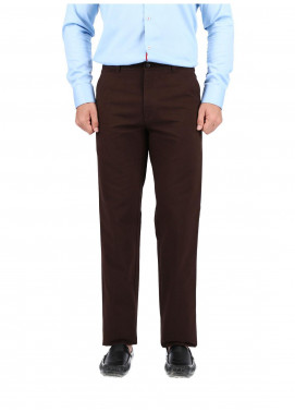 Shahzeb Saeed Cotton Dress Men Trousers - CHOC BROWN CTR-84