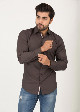 Shahzeb Saeed Cotton Formal Shirts for Men - BROWN RTW-1704