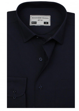 Shahzeb Saeed Cotton Formal Men Shirts - NAVY BLUE RTW-1798