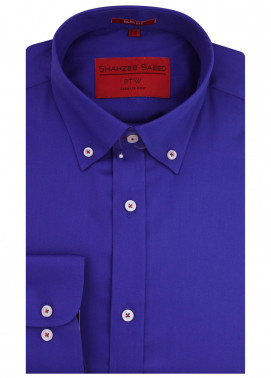 Shahzeb Saeed Cotton Formal Men Shirts - Royal Blue RTW-1450