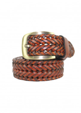 Shahzeb Saeed Textured Leather Men Belts BELT-026 Brown - Casual Accessories