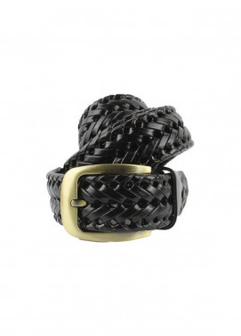Shahzeb Saeed Textured Leather Men Belts BELT-049 Black - Casual Accessories