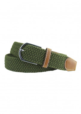 Shahzeb Saeed Textured Leather Men Belts BELT-084 Green - Casual Accessories