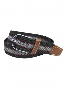 Shahzeb Saeed Textured Leather Men Belts BELT-137 Grey & Black - Casual Accessories
