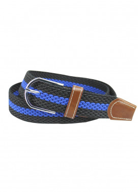 Shahzeb Saeed Textured Leather Men Belts BELT-139 Blue & Black - Casual Accessories