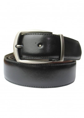 Shahzeb Saeed Textured Leather Men Belts BELT-153 Black - Casual Accessories