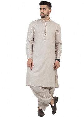 Shahzeb Saeed Wash N Wear Formal Men Kameez Shalwar - Beige SK-199