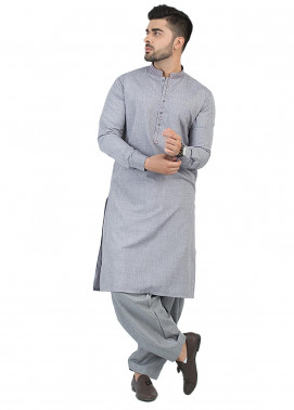 Shahzeb Saeed Wash N Wear Formal Kameez Shalwar for Men - Ash Grey SK-202