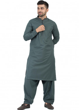 Shahzeb Saeed Wash N Wear Formal Men Kameez Shalwar - Grey SK-203