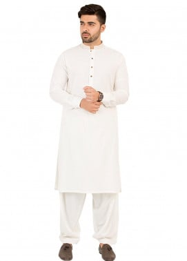 Shahzeb Saeed Wash N Wear Formal Men Kameez Shalwar - Off White SK-207