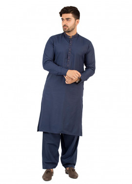 Shahzeb Saeed Wash N Wear Formal Kameez Shalwar for Men - Navy Blue SK-212