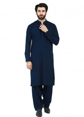 Shahzeb Saeed Wash N Wear Formal Men Kameez Shalwar - Navy Blue SK-216