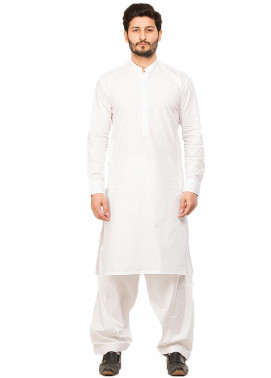 Shahzeb Saeed Wash N Wear Formal Kameez Shalwar for Men - White SK-217