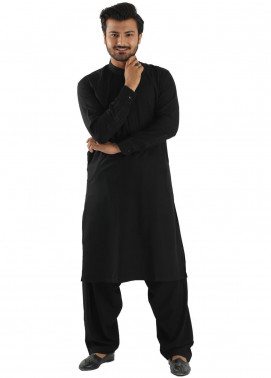 Shahzeb Saeed Wash N Wear Formal Men Kameez Shalwar - Black SK-218