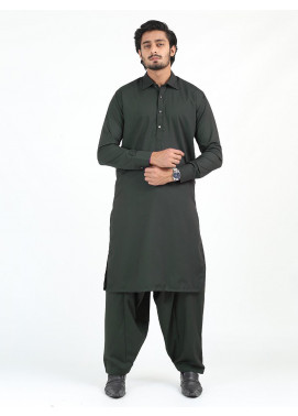 Shahzeb Saeed Wash N Wear Formal Men Kameez Shalwar - DARK GREEN SK-240