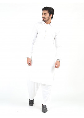 Shahzeb Saeed Wash N Wear Formal Men Kameez Shalwar - WHITE SK-244