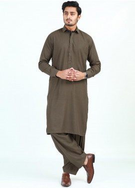 Shahzeb Saeed Wash N Wear Formal Men Kameez Shalwar - BROWN   SK-248