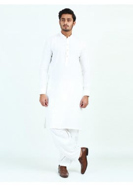Shahzeb Saeed Wash N Wear Formal Kameez Shalwar for Men - WHITE  SK-249