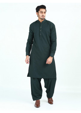 Shahzeb Saeed Wash N Wear Formal Men Kameez Shalwar - DARK GREEN  SK-252