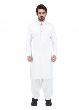 Shahzeb Saeed Wash N Wear Formal Men Kameez Shalwar - OFF WHITE SK-260