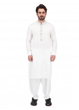 Shahzeb Saeed Wash N Wear Formal Kameez Shalwar for Men - WHITE SK-265