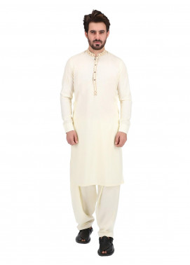 Shahzeb Saeed Wash N Wear Formal Men Kameez Shalwar - CREAM SK-269