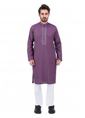Shahzeb Saeed Wash N Wear Formal Kurta for Men - PURPLE  Kurta-151