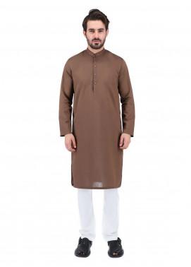 Shahzeb Saeed Wash N Wear Formal Men Kurta - BROWN  Kurta-156