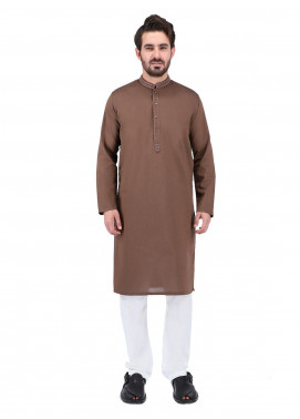 Shahzeb Saeed Wash N Wear Formal Kurta for Men - BROWN  Kurta-157