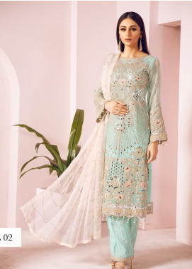 Shamrock by Maryum N Maria Embroidered Chiffon Unstitched 3 Piece Suit SMM19N 02 - Luxury Collection