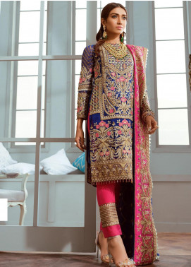 Shamrock by Maryum N Maria Embroidered Chiffon Unstitched 3 Piece Suit SMM20C 07 Glided Love - Luxury Collection