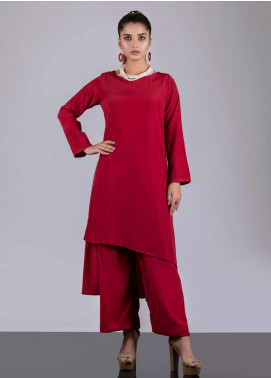 Sheep Casual Crepe Stitched 2 Piece Suit SB200628 RED