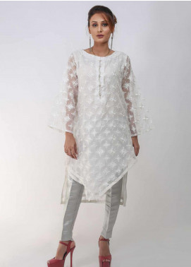 Sheep Casual Organza Stitched Kurtis SC100748 White