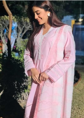 Sheep Casual Cotton Stitched 2 Piece Suit SC200267 Pink