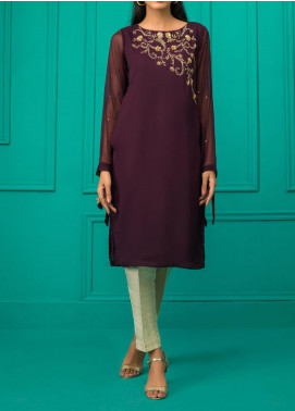 Sheep Casual Chiffon Stitched Kurti BS200369 PLUM