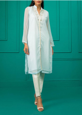 Sheep Casual Chiffon Stitched Kurti BS200519 CHAMRAY BLUE