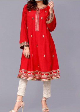 Sheep Casual Cotton Silk Stitched Kurti BS300385 RED