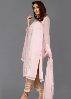 Sheep Casual Chiffon Stitched 3 Piece Suit EX200514 Tea Pink