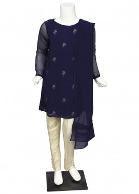 Sheep Chiffon Fancy Girls 2 Piece Suit -  SK200698 Navy