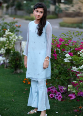 Sheep Chiffon Fancy Girls 2 Piece Suit -  SK300023 Chambray Blue