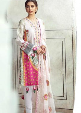 Sheesh Mahal by Cross Stitch Embroidered Lawn Unstitched 3 Piece Suit CS20SH 08 Mink Blossom - Luxury Collection