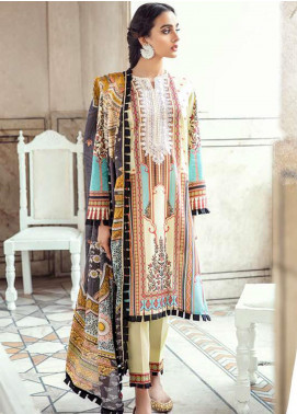 Sheesh Mahal by Cross Stitch Embroidered Lawn Unstitched 3 Piece Suit CS20SH 10 Sublime Beige - Luxury Collection