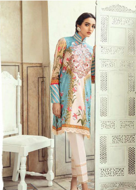 Sheesh Mahal by Cross Stitch Embroidered Lawn Unstitched 2 Piece Suit CS20SH 24 Damasque Sky - Luxury Collection